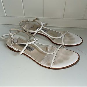 Jimmy Choo White leather Strappy Flat Sandals 39